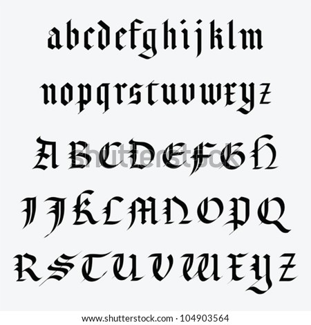 Medieval alphabet stock images royalty free images for Template gothic font free