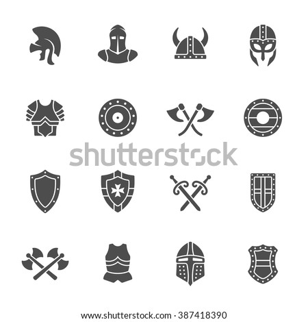 Medieval armor icon set - stock vector