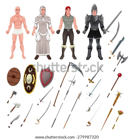 Medieval Avatar with Armors and Weapons. Isolated objects, vector illustrator.