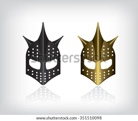 Medieval black and gold warrior helmet - stock vector