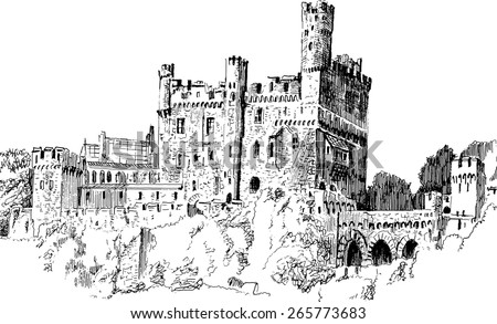medieval castle isolated on white background graphic drawing