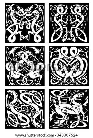 Medieval celtic knot patterns of dragons with entwined wings and tails on black background for tribal tattoo design - stock vector