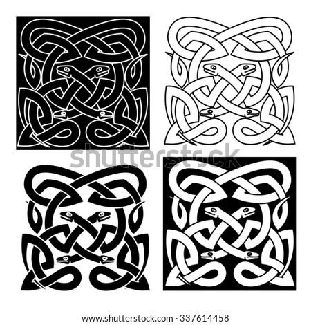 Medieval celtic reptile knot pattern with mythical snakes for Merlion tattoo images