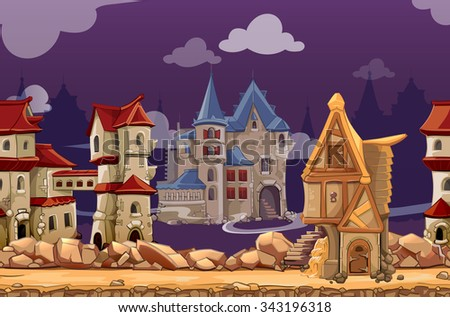 Medieval city seamless landscape background for computer game. Interface panoramic, gui city or town, vector illustration - stock vector