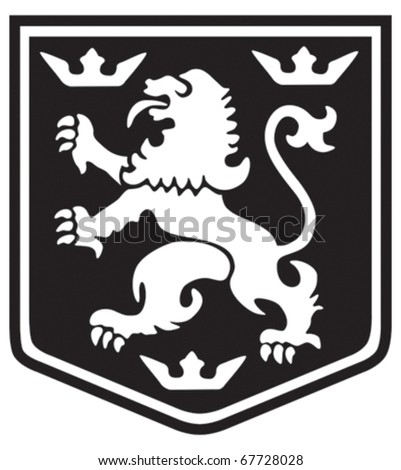 Medieval coat of arms lion with crowns on a shield - stock vector