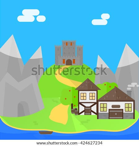 Medieval flat background. Two detailed houses, cave and mountains. Castle on the hill. Vector, eps10.