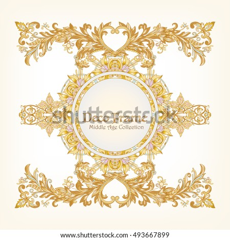 Vetor stock de medieval floral royal pattern space text livre de medieval floral royal pattern with space for text decorative symmetry arabesque gold on white stopboris