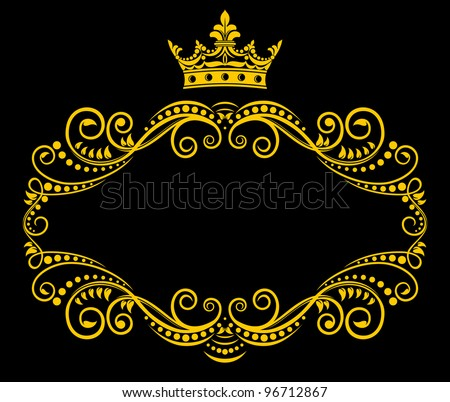 Medieval frame with royal crown in retro style. Jpeg version also available in gallery - stock vector