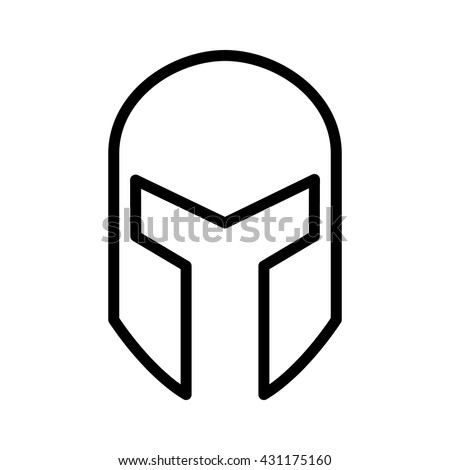 Medieval gladiatorial helmet headgear line art icon for games and websites - stock vector