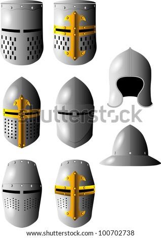 medieval helmet - stock vector