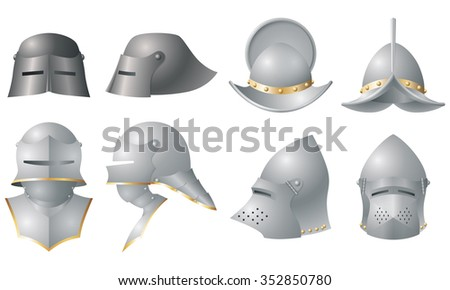 Medieval Helmets, Front and Side View - stock vector
