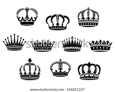 Medieval heraldic crowns set for design and ornate