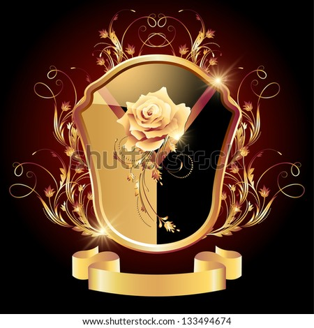 Medieval heraldic shield ornate golden ornament and rose - stock vector