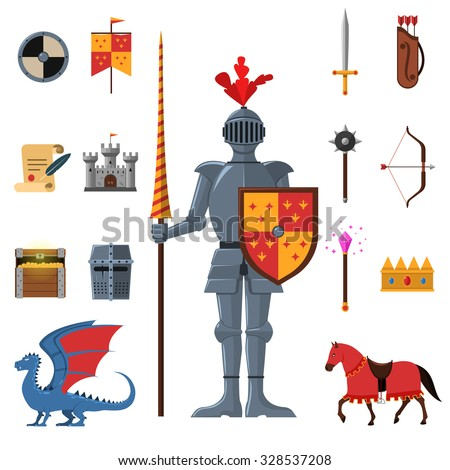 Medieval kingdom legendary armored knight warrior with lance and attributes flat icons set abstract isolated vector illustration - stock vector