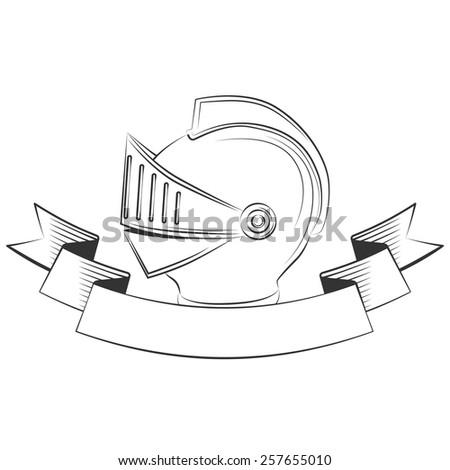 medieval knight helmet, excellent vector illustration, EPS 10 - stock vector