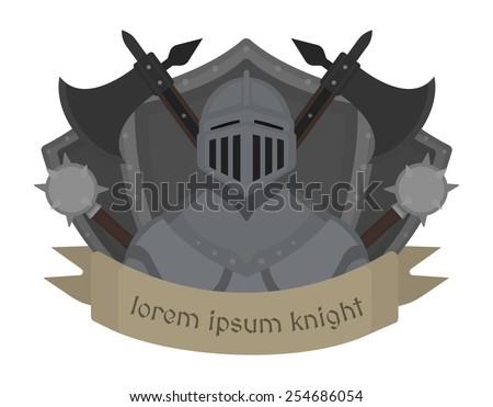 Medieval knight logo. Helmet, armor, mace, ax, shield, sign. Vector color clip art illustration isolated on white - stock vector