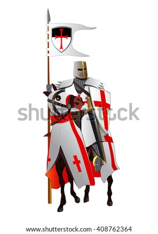 Medieval knight on a horse. Horseback templar. Vector illustration. Isolated on white. All pieces of the equipment are on separate layers. - stock vector