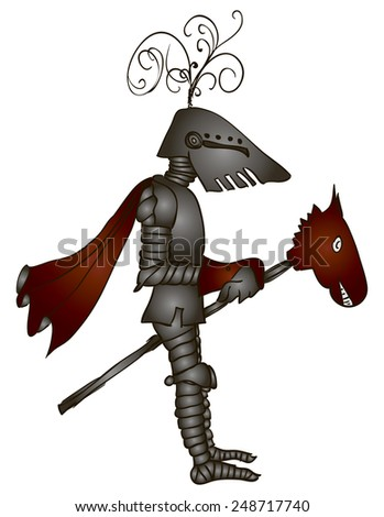 Medieval knight on a toy horse. Vector illustration. - stock vector