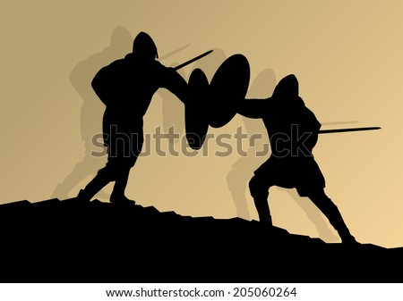 Medieval knight, warrior fight vector background concept - stock vector