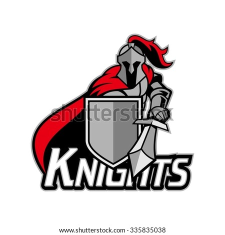 Medieval knight with armor and shield, red and silver, bold and strong logo - stock vector