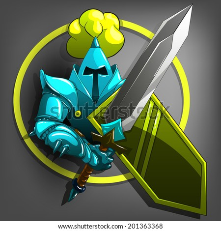 Medieval Knight with Sword and Shield. Vector illustration. - stock vector