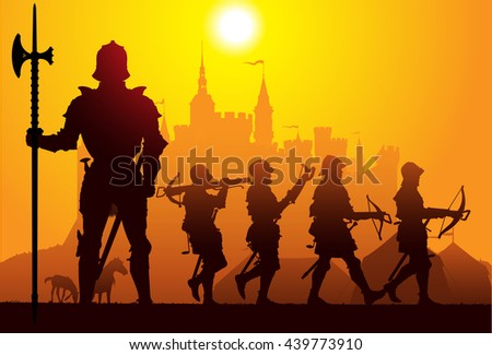 Medieval knight with the castle on the background - stock vector