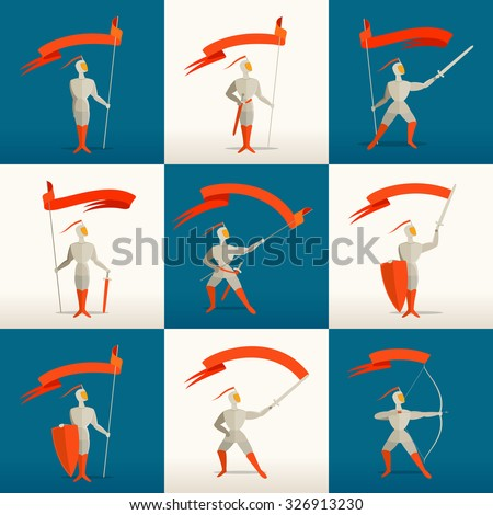 Medieval knights set with spear, sword, shield, bow and flag, banner. Vector illustration for your application or corporate identity. - stock vector