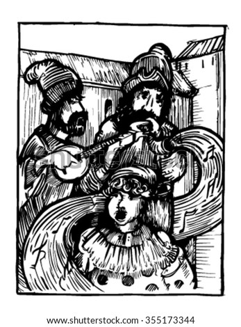Medieval. Medieval woodcut depicting clowns and musicians.