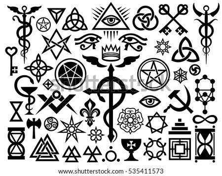 Medieval Occult Signs Magic Stamps Sigils Stock Vector 2018