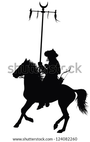 Medieval oriental warrior on horseback detailed vector silhouette - stock vector
