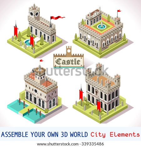 Medieval palace building tile online strategic stock for 3d house building games online