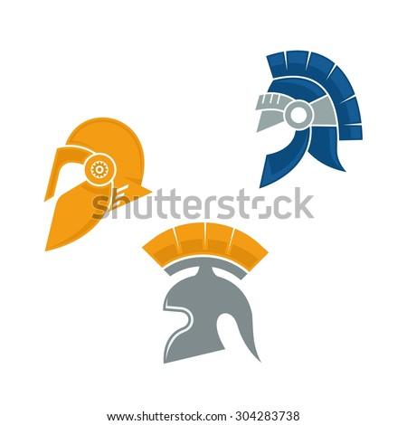 Medieval Roman warrior helmet set in flat color - stock vector
