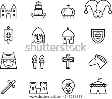 MEDIEVAL set of outline icons
