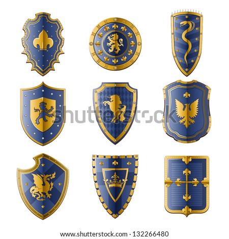 Medieval Shields Set - stock vector