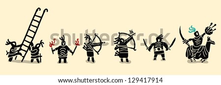 medieval soldiers set - stock vector