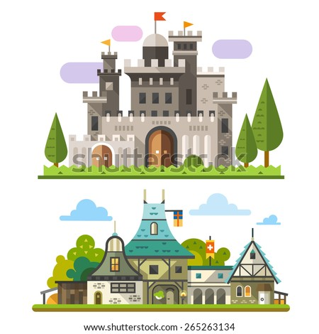 Medieval stone fortress and old timber house landscapes. Sprites for game. Vector flat  illustrations - stock vector