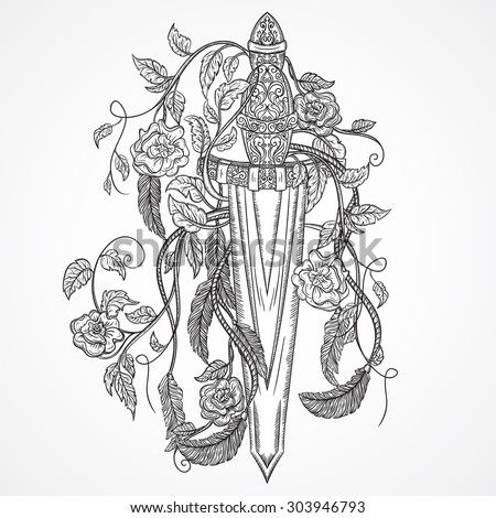 Medieval sword, roses, leaves and feathers. Vintage floral highly detailed hand drawn illustration. Isolated elements. Victorian Motif. Tattoo design