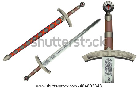 Medieval sword, vector illustration, isolated on white. Templar engravings.