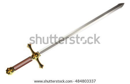 Medieval sword, vector, isolated on white background