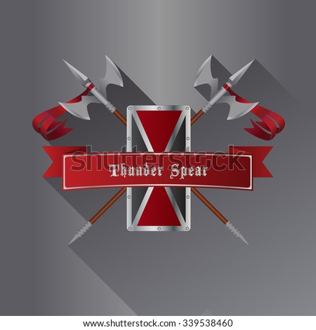 Medieval vector spear with shield and ribbons - stock vector