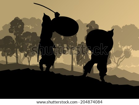 Medieval warrior, crusader vector background landscape concept - stock vector