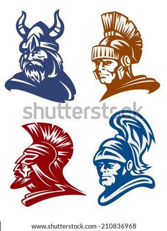 Medieval warriors set with knights and viking for mascot design - stock vector
