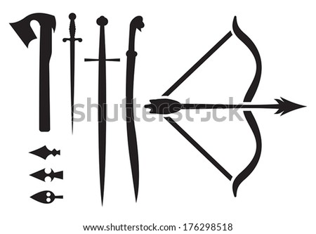 medieval weapon icons - stock vector
