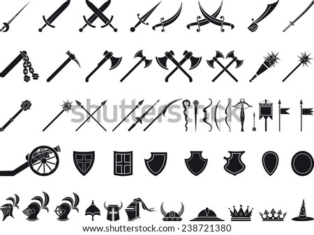 medieval weapons - stock vector