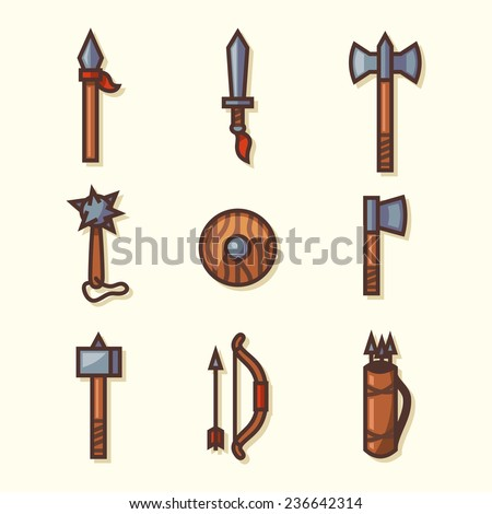 Medieval weapons icons. Vector illustration. - stock vector