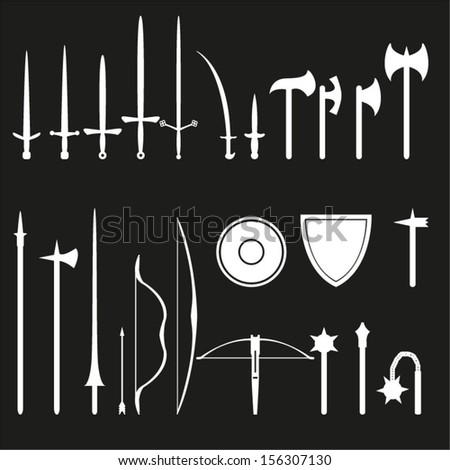 Medieval weapons set - stock vector