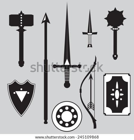 Medieval weapons set include sword, sledgehammer, shields, spear, mace, dagger, bow, arrow. Vector illustration - stock vector