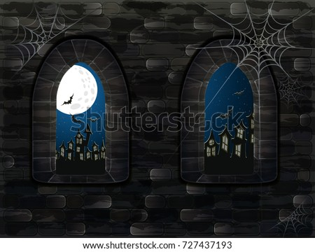 Medieval window in castle. Happy halloween card, vector illustration