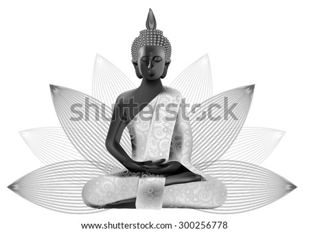 Meditating Buddha posture in silver and black colors in lotus on background - stock vector