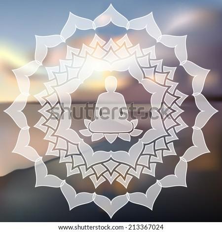 Meditating Buddha silhouette inside lotus chakra over blurred natural background vector illustration - stock vector